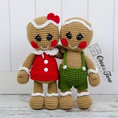 Nut and Meg Gingerbread Amigurumi Crochet Pattern by One and Two Company