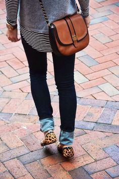 Skinnies, leopard, stripes and the perfect cross body bag