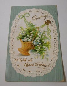 Postcard Greetings Best Wishes Embossed Flowers Posted  Divided Back   5067 #BestWishes