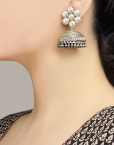 Silver Earrings Clip On Key: 9634540091 Metal Jewelry, Antique Jewelry, Silver Jewelry, Fine Jewelry, Silver Ring, Fancy Jewellery, 925 Silver, Sterling Silver, Silver Jhumkas