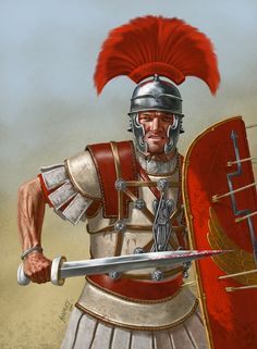 Roman Centurion of the First century BC - around the time of Caesar and the Fall of the Roman Republic. By Johnny Shumate. Rome History, European History, Ancient History, Ancient Rome, Ancient Greece, Punic Wars, Roman Centurion, Roman Warriors, Roman Legion