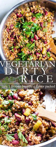 Best Vegetarian Recipes, Veggie Recipes, Whole Food Recipes, Dinner Recipes, Healthy Recipes, Dirty Rice Recipe Vegetarian, Dirty Rice And Beans Recipe, Xmas Recipes, Zoodle Recipes