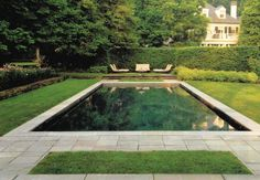 Garden geometry around a rectangular pool.