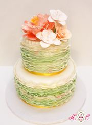 Mottled Sage Frills with Coral Peony 2-tier Wedding Cake by Heavenly Confections, Athens, Ohio