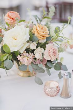 Wedding centerpiece ideas - spring romantic flowers roses pink orange white greenery