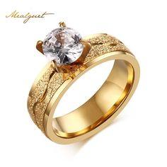 Meaeguet bijoux mujeres de moda anillo de alianzas de boda anillos de compromiso zirconia cúbica de $ number puntas de acero inoxidable del regalo del amante