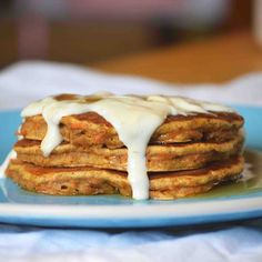 Whole Wheat Carrot Cake Pancakes with Cream Cheese Syrup