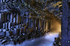"""Fingal's Cave ~ a sea cave on the uninhabited island of Staff, on the western coast of Scotland. The immense arch-roofed cave creates a melodic, haunting echo of waves within its cathedral-like atmosphere; something so impressive Romantic Poets Keats, Wordsworth, and Alfred, Lord Tennyson all made journeys here ~ the cave's Gaelic name is Uamh-Binn, meaning """"cave of melody"""""""
