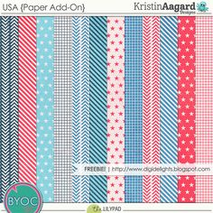 Quality DigiScrap Freebies: USA paper pack freebie from Kristin Aagard Designs