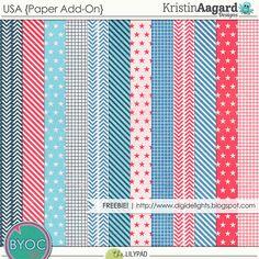 Quality DigiScrap Freebies: USA paper pack freebie from Kristin Aagard Designs