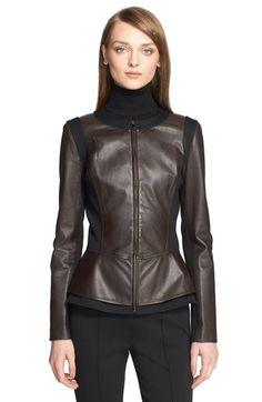 St. John Collection Nappa Leather Peplum Jacket available at #Nordstrom ❤️