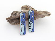 Everyday Simple Earrings, Long Rectangle Wood Dangle Earrings, Blue with…