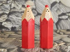 "Vintage Pair of Ceramic Red Pencils Salt & Pepper Shaker Set - Japan http://oldgreencottage.com/spshakers.html Condition: Gently Used Price: $10.00 (plus S&H) Description: Pair of ceramic red pencils salt & pepper shaker set. They measure 4 1/2"" tall and really look like pencils! Japan stamped on bottom. Great addition to any S&P shaker collection!"