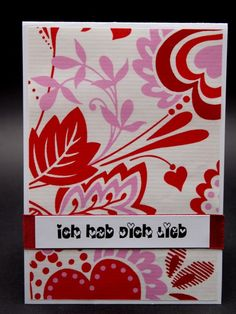 Romantic Cards, HDL, Love, Hearts, Red, White, Flowers, Ornaments
