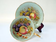 Aynsley Cup Saucer Set Orchard Fruits Apple Plums Light Blue Ruffled Rims Gilded Wedding Anniversary Birthday Bridal Shower Collector Gift by Passion4Europe on Etsy