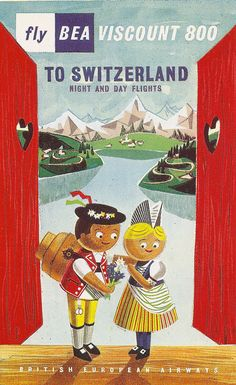 Fly BEA to Switzerland - poster by Andre Amstutz, 1957