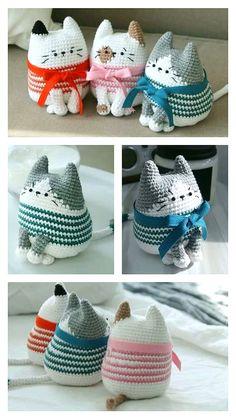Crochet Cat Toys, Crochet Animal Amigurumi, Crochet Beanie Pattern, Crochet Amigurumi Free Patterns, Cute Crochet, Crochet Crafts, Crochet Dolls, Beginner Crochet Projects, Baby