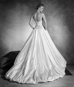 Nadira - Vestido de novia en tafetán de seda, talle bajo, pedrería