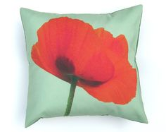Red Poppy Flower Green Pillow Cover 16 inch, Decorative Throw Pillow Cover, Cushion Cover, Sham