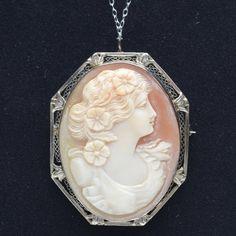 Vintage Carved Carnelian Shell Cameo Pendant Brooch - 14k White Gold | VintageAnelia - Jewelry on ArtFire