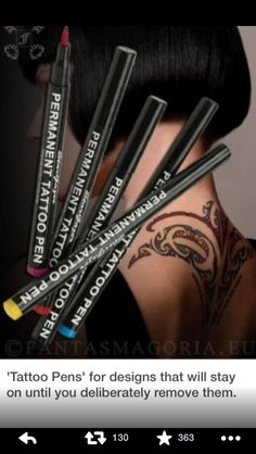 tattoo pens!!! I need these!!!! Stays on till you deliberately take it off.
