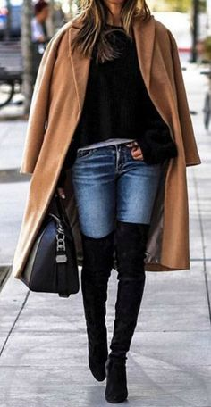 Sasha Simon + keeps it casual + gorgeously simple winter outfit + skinny jeans + classic camel coat + pair of over the knee boots + velvety style + leather bag + Sasha's winter aesthetic.  Brands not specified.