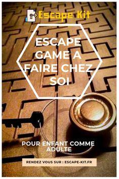Escape game à faire à la maison. #FUN #DIY #FAMILLE #MERCREDI #ENFANT #ESCAPE GAME #ESCAPEKIT Mystery Games, Wooden Puzzles, Escape Room, Centre, Activities, Tools, Education, Fun, Painted Desks