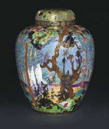 A Large Wedgwood Fairyland Lustre Ghostly Wood 2312 Malfrey Pot and Cover