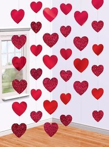VALENTINES DAY PARTY RED FOIL HEARTS HANGING STRING ROOM DECORATION X 6