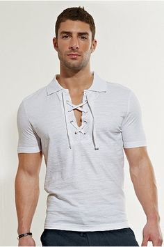 Classic White Lace Up Polo