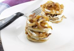 Caramelized Onion and Goat Cheese Potato Stacks.