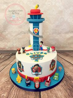 Paw Patrol cake with look out Pj Masks Birthday Cake, Toddler Birthday Cakes, 3rd Birthday Cakes, 4th Birthday, Paw Patrol Birthday Theme, Paw Patrol Party, Torta Paw Patrol, Paw Patrol Decorations, Character Cakes
