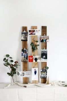 Reclaimed wood displaying photos