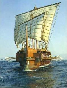 Greek ships had sails, and were pushed along by the wind. Small trading ships usually stayed close to the shore, so the sailors did not get lost. Before a voyage, the sailors prayed to the sea god Poseidon, for a safe journey
