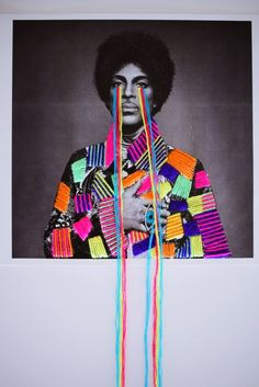 "Mexican artist Victoria Villasana uses traditional embroidery techniques to apply colorful flourishes and motifs to vintage photographs of celebrities. ""Criss-crosses of color and bright highlights… Jimi Hendrix, Gcse Art Sketchbook, Mexican Textiles, Nina Simone, Afro, Mexican Artists, Photocollage, Victoria, Foto Art"