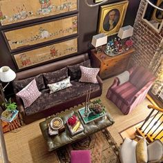 The Art of Living Small: Living Room with Brown Velvet Couch