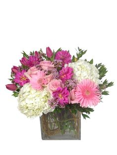 Tall and Bright for Mom with Pink Roses, Daisy's, Tulips, and Hydrangea $125