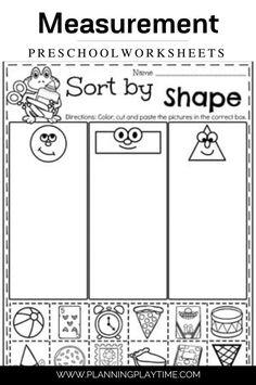 Shape Sorting Preschool Worksheet. Preschool Worksheets, Preschool Activities, Learning Through Play, Kids Learning, Back To School Worksheets, Shape Sort, Letter Recognition, Cut And Paste, Feeling Overwhelmed