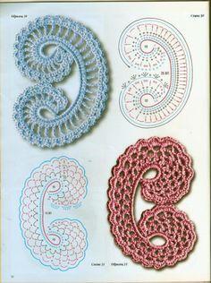 Resultado de imagen para granny circle square - crochet, but called knitting in Russian, edging charted at lenamasterica. Crochet Paisley, Beau Crochet, Irish Crochet Patterns, Crochet Diagram, Freeform Crochet, Crochet Chart, Thread Crochet, Crochet Designs, Crochet Motifs