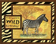 Zebra in the Wild card by Helen Conolly using Darkroom Door Wild Africa Vol 1 Rubber Stamp set and Zebra Background Stamp