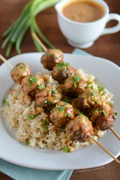 Asian Meatball Satay with Peanut Sriracha Sauce