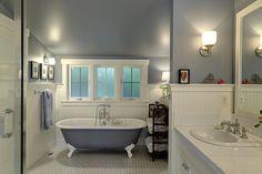 Full Bathroom with Limestone Tile, High ceiling, Clawfoot Bathtub, Limestone…
