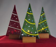 Fused Glass Christmas Tree Luminaries