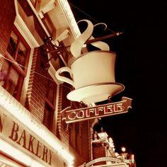 Coffee Sign Photograph, sepia tone, vintage Disney sign, home decor, 8x8 fine art photo print. $25.00, via Etsy.