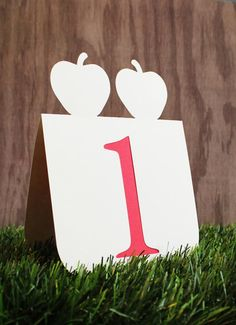 Wedding Table Numbers with Double Apple Accent 1 to 25