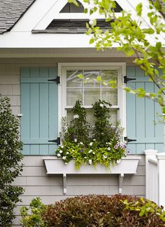:: Havens South Designs :: these treatments of shutter and window box makes small windows look huge.