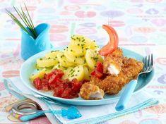 Selbst gemachte Fischstäbchen mit Tomatensalsa