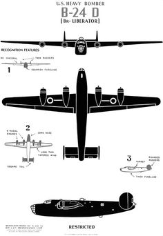 Historic poster showing major identifying features of the WWII heavy bomber aircraft. Originally published by the U. Government Printing Office, Views of the front, bottom, and side of the airplane. Ww2 Aircraft, Military Aircraft, Ww2 Planes, Vintage Airplanes, Blender 3d, Wwii, Fighter Jets, Retro, Vintage Trends
