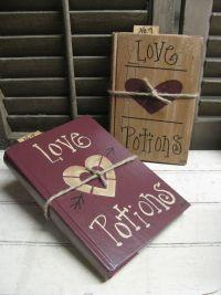 Primitive Valentine's Love Potion Hand Painted Book Decoration GCC4808