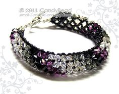 Sparkling in Black and Amethyst colors - Swarovski crystal bracelet, very beautiful!!!    Another your own favorite colors/size please convo me.  I have many items for the Best Beautiful Bracelets. Please come look!    Thank you ♥